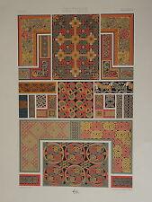 GRANDE Litho DÉCORATION ARCHITECTURE CELTIQUE CELTIC BRITANY 1860 NAPOLÉON III
