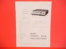 1978 SEARS CB RADIO SERVICE SHOP OWNERS MANUAL MODEL 934.38110701 (ROADTALKER)