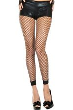 BLACK LARGE HOLE FISH NET FENCE FISHNET SEXY FOOTLESS TIGHTS ONE SIZE 8 - 14 UK