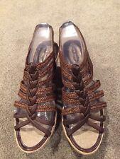 ELIE TAHARI Brown Leather Weave Espadrille Slide Sandal Shoe 7 (39)