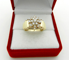 Estate 14k Yellow Gold Cluster Natural 0.50 tcw Diamonds Ring sze 6.5 Signed MAC