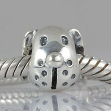 Dog Puppy Face Genuine 925 Sterling Silver Charm Bead Fits European Bracelet