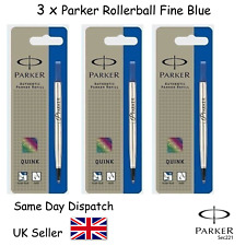 Geniune Parker Quink Refill for Rollerball Fine Blue x 3