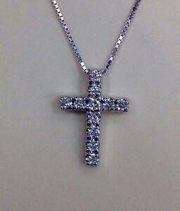 14K White Gold Natural Diamond Cross Pendant Mini Charm Necklace w/Chain Fashion