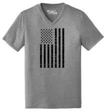 Mens Distressed American Flag (Tall Flag) Triblend V-Neck Usa July 4th Patriotic