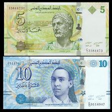 Tunisia set 2 PCS, 5 10 Dinars, 2013, P-95 96, UNC