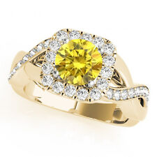 1.04 Ct Canary Round VS Diamond Solitaire Wedding Ring 14k Yellow Gold Classy