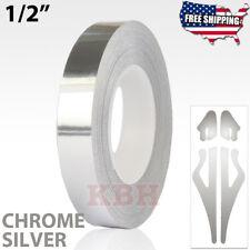 "1/2"" Vinyl Pinstriping Pin Stripe Solid Line Tape Sticker 12mm CHROME SILVER"