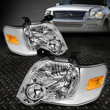 FOR 2006-2010 FORD EXPLORER PAIR CHROME HOUSING AMBER CORNER HEADLIGHT/LAMP SET