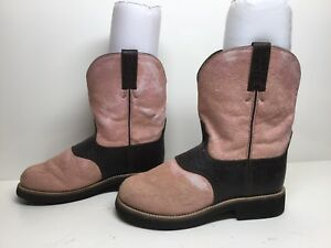 VTG WOMENS TWISTED X COWBOY CALF HAIR LEATHER PINK BOOTS SIZE 6.5 M