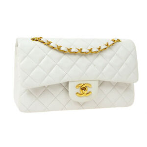 CHANEL Classic Double Flap Small Chain Shoulder Bag 4335266 White Leather 36951
