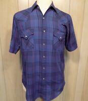 Ely Plains Men's Shirt Size M Pearl Snap Short Sleeve Blue Plaid Rodeo Cowboy