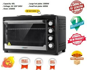 Devanti Electric Convection Oven Bake Benchtop Rotisserie Grill 60L Hotplate BK