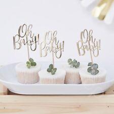 Oro frustrado Oh Baby! Cupcake Toppers Baby Shower Pastel Mollete Decoración-PK 12