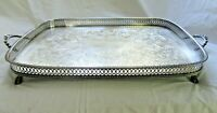 """BIG VINTAGE 20"""" SILVER PLATE FOOTED GALLERY TRAY RETICULATED PIERCED SERVING"""
