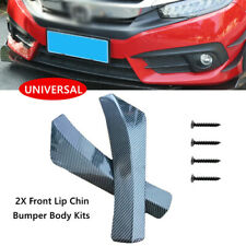 2PCS Universal Car Carbon Fiber Look Front Bumper Lip Chin Spoiler Splitter Kit