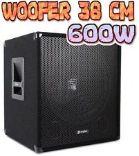 "SUBWOOFER AMPLIFICATO 600W WOOFER 15"" (38 CM) SUB PALCO DJ CASSA ATTIVA nuovo"
