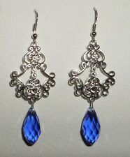 LONG FILIGREE VICTORIAN STYLE SILVER PLATED BLUE BRIOLETTE DROP EARRINGS Hook