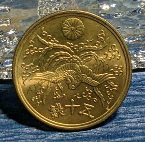 [UNC] Japan Brass Coin 50 Sen Showa  Yr 21 (1946)  50銭 昭和21年 Flying Pheonix