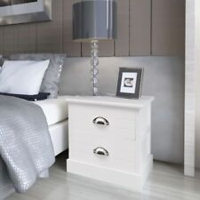 White French Bedside Cabinet 38cm 2-drawer Side Table Wooden Bedroom Nightstand