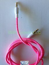 Braided 3.5mm Male To Male M/M Stereo Audio AUX Auxiliary Cable Cord PC iPod CAR