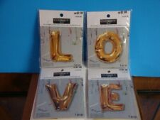 "25.5"" mylar balloons X 4, ""L"" ""O"" ""V"" ""E"", use air or helium, gold color"