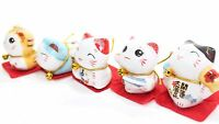 Set of 5 Japanese Cat Figurines Cute Smiley Waving Lucky Fortune Cat US Seller