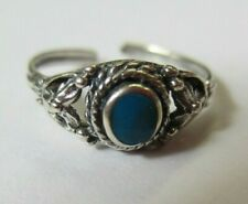 Ring Oxidized with Stone Jewelry Solid 925 Sterling Silver Adjustable Toe