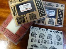 Tiger Card making wooden stamper 1 set with ink pad  House cat bike car NEW BNIB