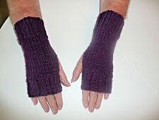 Hand Knit Fingerless Gloves- Wrist Warmers-Texting Gloves-Dark Purple