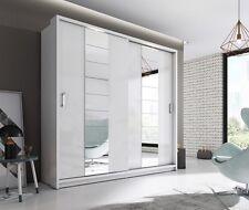 Brand New Modern Bedroom Sliding Mirror Wardrobe ARTI 14 White Matt 220cm