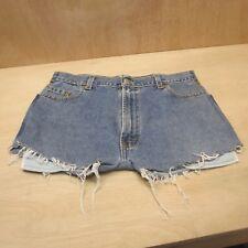 "Levi 505 Cut off Women's Denim shorts Blue High Waisted Hot pants W31"" Size 14?"