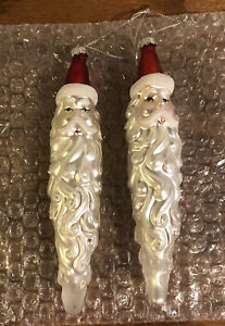 2 Vintage Glass Ice Santa Claus Head Long Beard Icicle Christmas Ornaments
