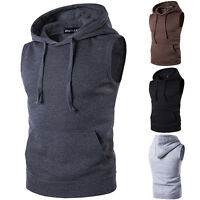 Men Sport Muscle Hoodie Tank Top Gym Fitness Workout Sleeveless Vest T-Shirt Tee