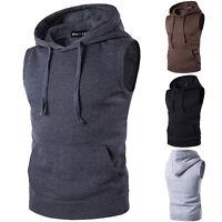 Mens Sleeveless Pullover Gillet Hoodie Hooded Sweatshirt Lightweight Hoody Top