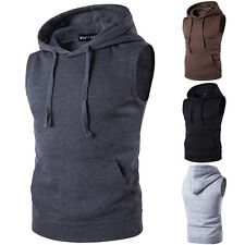 Men Sleeveless Hoodie Sweatshirt Sweater Vest Fitness Gym Hooded Coat Tank Top