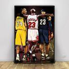 Michael Jordan-Kobe Bryant- NBA wall art Basketball Canvas Printed Poster new