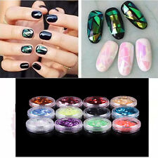 12 colors Crushed Shell Nail Art Gel Acrylic Crushed Shell Glitter Powder Tip