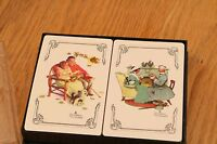 Vintage Norman Rockwell Bridge Playing Cards 2 Decks Trump By Hoyle Black Case