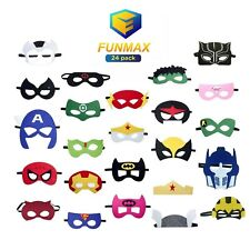 FUNMAX 24 Piece Superhero Masks For Kids Birthday Parties Gifts