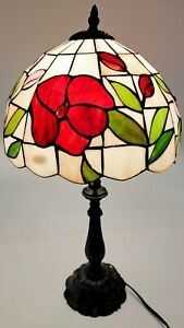 """Tiffany style table lamp 22"""" Red/Pink Roses Works"""