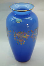 VINTAGE ITALIAN ART GLASS VASE CRISTALLERIE ITALIANE BLUE GOLD 11in TALL LABEL