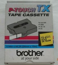 BROTHER TX-6511 1 IN. BLACK ON YELLOW P-TOUCH TAPE for PT-8000, PT 30/35 PT-PC