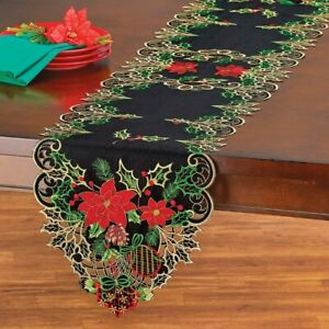 Elegant Holiday Holly and Christmas Poinsettia & Pinecone Polyester Table Runner