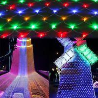2*2m LED Lichternetz Lichtervorhang Lichterkette für Innen Außen Xmas RGB