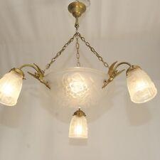 French Art Deco Kronleuchter Degue ROS Signiert Deckenlampe Bowl Chandelier