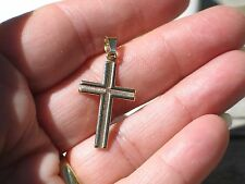 14k Solid Yellow Gold Cross Crucifix Pendant Textured & Bright Polished