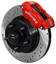 "WILWOOD DISC BRAKE KIT,FRONT,58-68 FORD,MERCURY,11"" DRILLED ROTORS,RED CALIPERS"