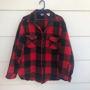 VTG Woolrich Buffalo Plaid Heavy Wool Flannel Shirt Jacket USA Made Men's XL