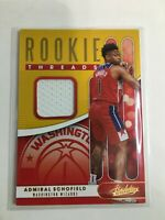 F68097  2019-20 Absolute Memorabilia Rookie Threads Admiral Schofiel wizards